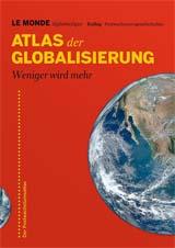 Cover Atlas der Globalisierung - Teil der Erdkugel auf rotem Hintergrund